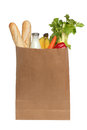 Paper bag with food over white on a background Stock Photography
