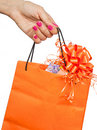 Paper bag with a gift Royalty Free Stock Images