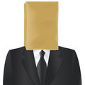 Paper bag head on the of charcoal suited man isolated on white Royalty Free Stock Photo