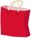 Paper bag red empty shopping vector illustration Stock Images