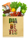 Paper bag with the word diabetes filled healthy foods Royalty Free Stock Photo