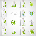 Paper bags with green ecological icons design Royalty Free Stock Photo