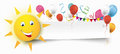 Paper Banner Balloons Buntings Funny Sun Face Royalty Free Stock Photo