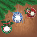 Paper bauble, wood background Royalty Free Stock Image