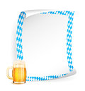 Paper board with frame in bavarian colors and beer Royalty Free Stock Image