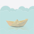 Paper boat in blue waves of paper sea vector Royalty Free Stock Photography