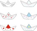 Paper boat six different little boats made of Stock Image