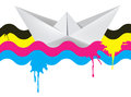 Paper boat on the waves of print colors vector illustration origami concept for presenting color printing press Royalty Free Stock Photography