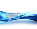 Paper boat on the waves of water Royalty Free Stock Photography