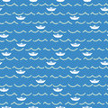 Paper boats and sea waves seamless pattern.