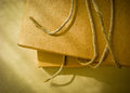 Paper box and string close up shot of brown Royalty Free Stock Photo