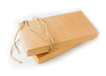 Paper box and string close up shot of brown isolated background Royalty Free Stock Images