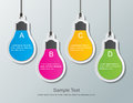 Paper bulbs four light bulb signs hanging on the wall Royalty Free Stock Photos