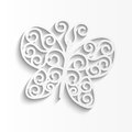 Paper butterfly illustration white background Royalty Free Stock Photos