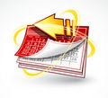 Paper calendar with arrow Royalty Free Stock Photo