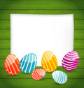 Paper card with easter colorful eggs illustration Royalty Free Stock Photos
