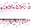 Paper card over pink confetti. Royalty Free Stock Photo