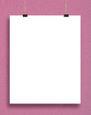 Paper card on a pink wall. Royalty Free Stock Photo