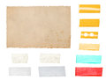 Paper cardboard with tape strips isolated on white background Royalty Free Stock Photo