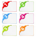 Paper cards with corner ribbons Stock Photography