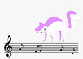 Paper cat go on note music Stock Photography
