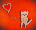 Paper cat in love Stock Images