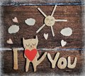Paper cat in love valentines day card with Royalty Free Stock Image