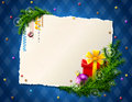 Paper for christmas list with gift and bauble decorations pine branches blank on checkered background qualitative vector eps Royalty Free Stock Images