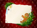 Paper for christmas list with gingerbread man cookie pine branches and blank on checkered background qualitative vector eps Stock Photography