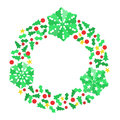 Paper christmas snowflake wreath holiday composed of xmas themed confetti and snowflakes Stock Photo