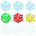 Paper christmas snowflakes set of three themed in different styles Royalty Free Stock Photography