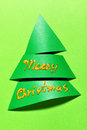 Paper christmas tree green and wishes Royalty Free Stock Images