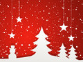 Paper Christmas tree and winter scene red Royalty Free Stock Photo