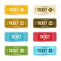 Paper Cinema Tickets Set, Vector Concert or Festival Ticket Symbols. Royalty Free Stock Photo