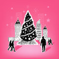 Paper city christmas themed hand drawn vector elements Royalty Free Stock Photography
