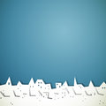 Paper city illustration of an abstract little town on blue background Stock Photos