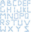 Paper clip alphabet blue Royalty Free Stock Photo