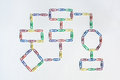 Paper clip organization chart organizational flow made from coloured clips Stock Photos