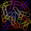 Paper clips on black Royalty Free Stock Photography