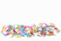 Paper clips in a row office supplies colorful Royalty Free Stock Photo
