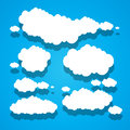 Paper clouds blue sky background Stock Photos