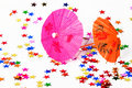 Paper cocktails parasols Royalty Free Stock Images