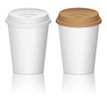 Paper coffee cup set on a white background Stock Photos
