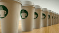 Paper Coffee Cups in a Row Stock Photos