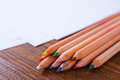 Paper and color pencils Royalty Free Stock Photo