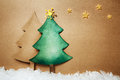 Paper craft chsitmas trees handmade christmas tree and snow with stars Royalty Free Stock Photos
