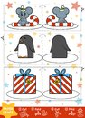 Paper Crafts for children. Mouse, Penguin and Christmas gift Royalty Free Stock Photo