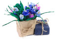 Paper crocuses and gift box closeup Royalty Free Stock Photo