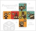Paper cube with monsters for table games papercraft vector in retro style Royalty Free Stock Images