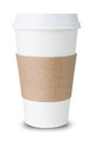Paper cup with sleeve before white background ioslated Stock Images